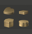 golden tin boxes for tea coffee or sweets vector image vector image