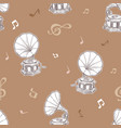 gramophone seamless pattern- vintage hand drawn vector image vector image