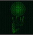 hand and magic sphere of binary code vector image vector image