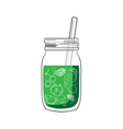 hand drawn green smoothie jar vector image