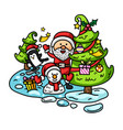 hand drawn santa claus happy new year and merry vector image vector image