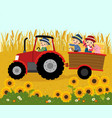 happy elderly farmer with kids on a trailer vector image vector image