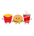 happy smiling funny cute burgersoda vector image
