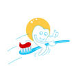 happy teeth with tooth paste vector image