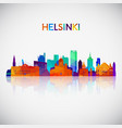 helsinki skyline silhouette in colorful geometric vector image vector image