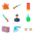 home guard icons set cartoon style vector image vector image