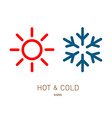 Hot and cold sun and snowflake icons vector image vector image