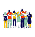 hugs with friends concept diverse multiracial vector image