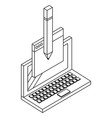 laptop and techonlogy elements black and white vector image vector image