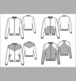 Men sport bomber technical sketch vector image vector image