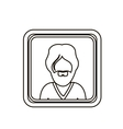 monochrome contour square with half body man with vector image vector image