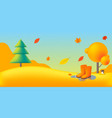 nature autumn landscape with yellow trees rubber vector image vector image