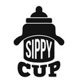 newborn sippy cup logo simple style vector image vector image