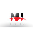 nh n h brush logo letters with red and black vector image vector image
