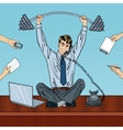 Pop Art Successful Businessman at Office Work vector image vector image