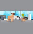 pug and french bulldog standing together human vector image vector image