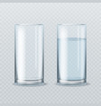 realistic water glass empty and full clean vector image