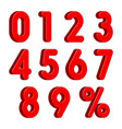 red 3d numbers with percent sign isolated on white vector image vector image