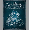 retro time party with cups and bakery vector image vector image