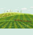 rural countryside landscape spring green meadows vector image vector image