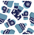 seamless pattern with mittens cap and scarf vector image vector image