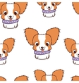 Seamless pattern with papillon puppies Colorful vector image vector image