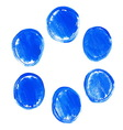 Set of blue acrylic round stains vector image vector image