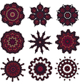 Set of burgundy mandalas vector image vector image