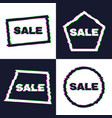 set of four distorted glitch sale banners vector image