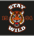 stay wild head tiger for print vector image vector image