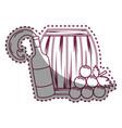 sticker line bottle splashing wine barrel and vector image vector image