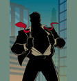 superhero under cover in city silhouette vector image vector image
