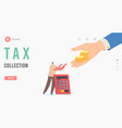 tax collection landing page template tiny man vector image vector image