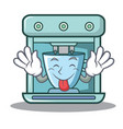 tongue out coffee maker character cartoon vector image vector image
