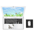 top view real white laptop computer with mouse vector image
