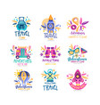 travel time logo design set summer vacation vector image vector image