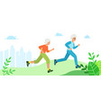 two grandmothers run through city park vector image vector image