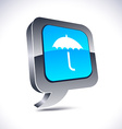 Umbrella 3d balloon button vector image vector image