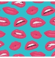 Vintage pink red lips kiss seamless pattern on vector image vector image