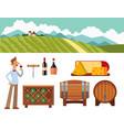 winery making harvest cellar vineyard glass vector image vector image