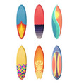 surfboards set of different retro colors vector image