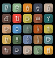 beverage line flat icons with long shadow vector image