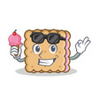 biscuit cartoon character style with ice cream vector image vector image
