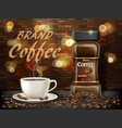 black arabica coffee cup with beans ads 3d vector image vector image