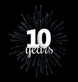 black ten years greeting card with blue firework vector image