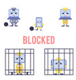 blocked computer devices set isolated on white vector image