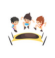 boys jumping on trampoline bouncing kids having vector image vector image