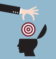 businessman hand put target goal in human head vector image vector image