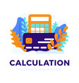 calculator and credit card stock isolated for vector image