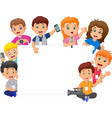 cartoon happy kids in different professions with b vector image vector image